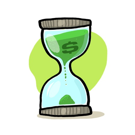 Hourglass with dollar sign illustration; Sand glass with dollar sign drawing; Hourglass Illustration; Time and money Stock Photo