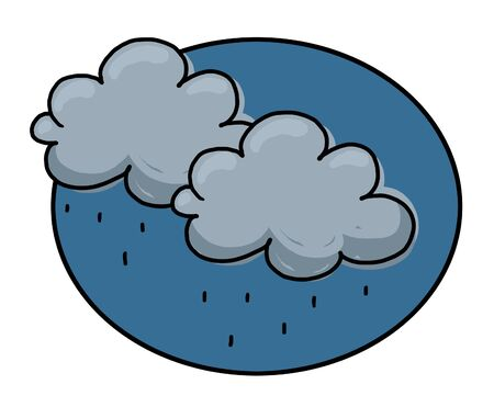 Rain clouds illustration; Rain clouds with rain drops drawing Stock Photo