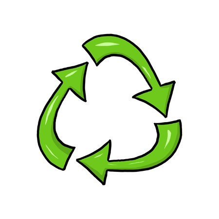 Recycle symbol illustration; Green recycling symbol; Isolated recycle sign drawing