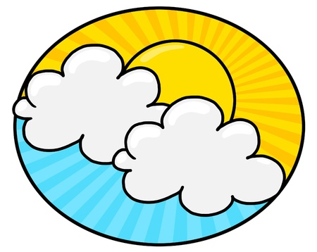 Sun Shining illustration; Sun shining among the blue sky and white clouds; bright sun and clouds freehand drawing