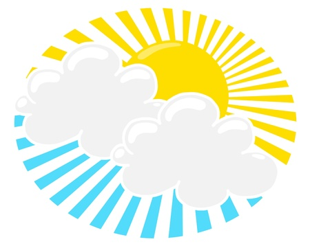 Sun Shining Through Clouds illustration; Sun shining among the blue sky and white clouds; sun and clouds freehand drawing