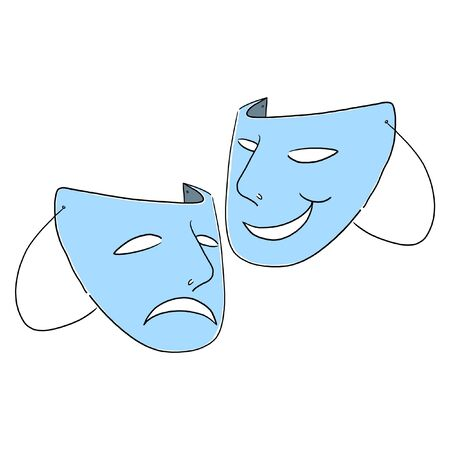 Theater masks symbol illustration; Comedy and tragedy theater Masks illustration; Theater masks drawing