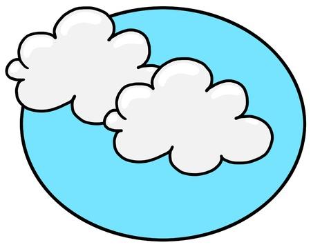 白い雲と青い空の図;雲フリーハンドでの描画