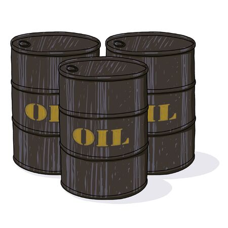 Oil barrels illustration; Three oil barrels drawing; oil barrels with printed golden text cartoon style illustration