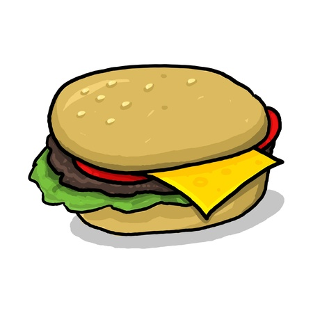 isolated cheeseburger illustration; hamburger with all the condiments; meat and vegetables between two halves of a hamburger bun; cartoon style cheeseburger drawing