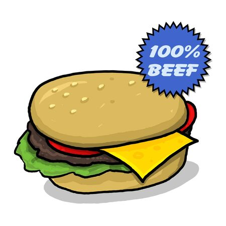 Cheeseburger illustration; Greasy cheeseburger with all the condiments; one hundred percent beef; cheeseburger cartoon style drawing