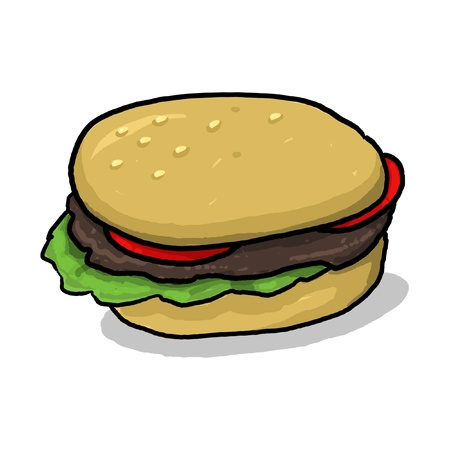 condiments: isolated hamburger illustration; hamburger with all the condiments; meat and vegetables between two halves of a hamburger bun; cartoon style hamburger drawing