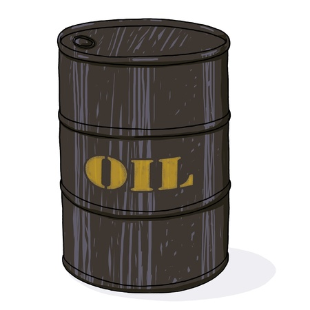 Oil barrel illustration; Isolated oil barrel drawing; oil barrel with printed golden text cartoon style illustration