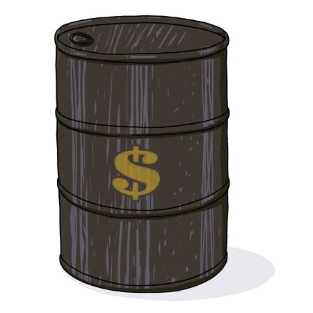 Oil barrel with dollar sign; Isolated oil barrel illustration
