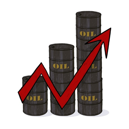 Oil barrels with red arrow illustration; Red arrow across piles of oil barrels drawing; Oil barrels with red arrow pointing up to indicate rising price illustration