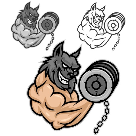 Vector is a wolf, a fan of bodybuilding, format EPS 8