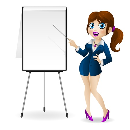 Illustration attractive business woman stands near the flip chart and holds in hands a pointer, format EPS 10 Stock Vector - 18644016