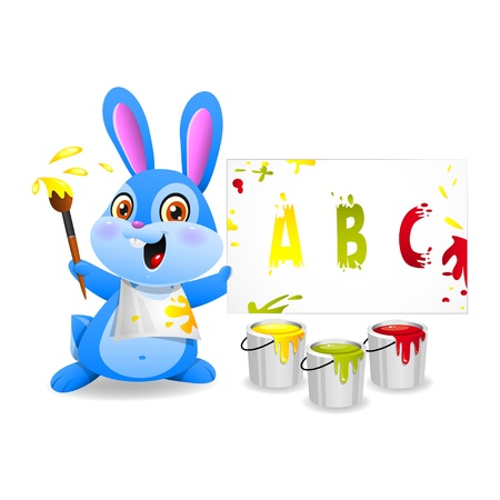 Illustration cheerful rabbit draws on paper, format EPS 10 Vector