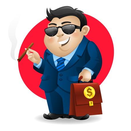 Businessman smoking cigar and holds suitcase 일러스트