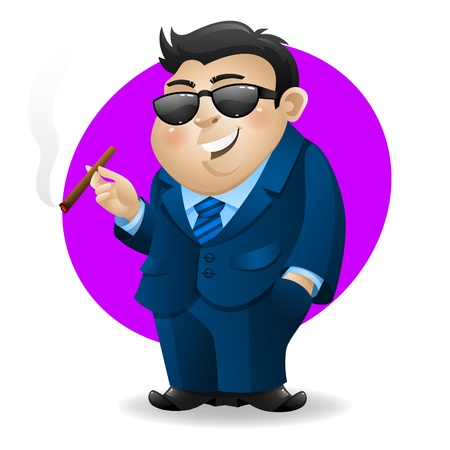 Businessman with cigar Stock Vector - 19093115