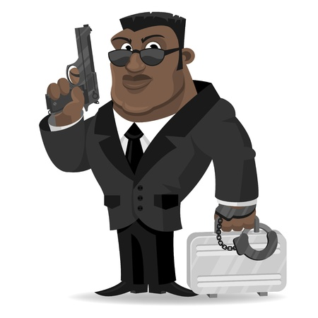 African agent keeps gun and suitcase Vector