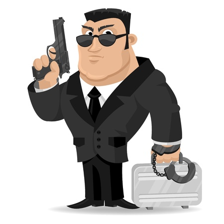 Agent keeps gun and suitcase Stock Vector - 19156479