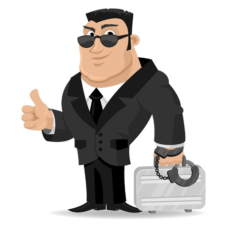 Agent keeps suitcase in handcuffs Ilustracja
