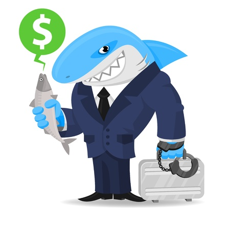 Shark business keeps suitcase and fish Vector