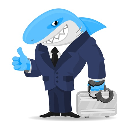Shark business keeps suitcase in handcuffs Vector