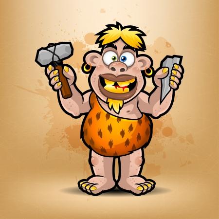 neanderthal: Neanderthal holds stone and hammer Illustration