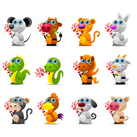 Chinese horoscope animal toys with sugar candy Vector