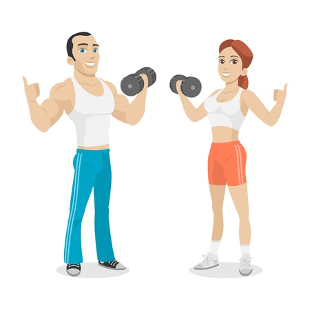 Guy and girl hold in dumbbell hand Çizim