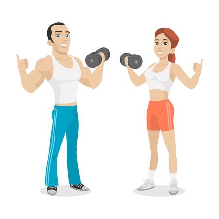 Guy i dziewczyna w ręku trzymać hantle Ilustracje wektorowe