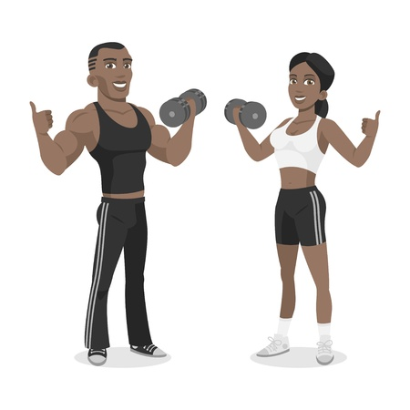 Blacks athletes hold in dumbbell hand Vector