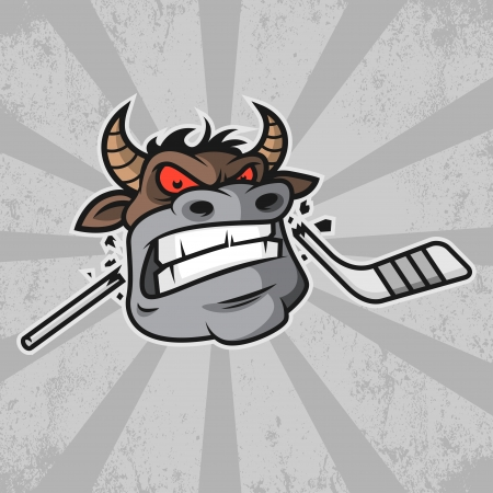 Bull bites hockey stick Vector