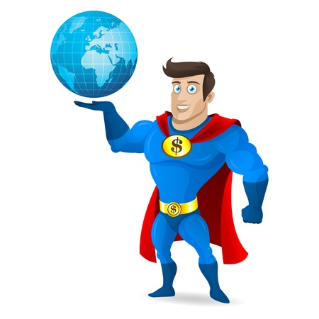 muscular control: Superhero holds planet earth Illustration