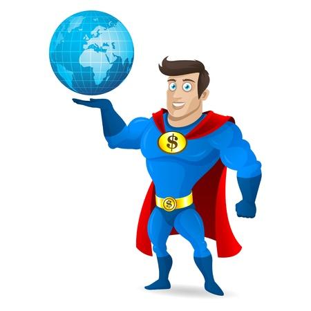 muscular control: Superhero holds planet earth Illustration