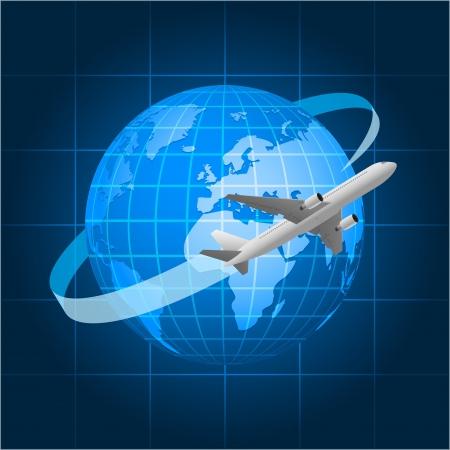 Globe and passenger aircraft Illustration