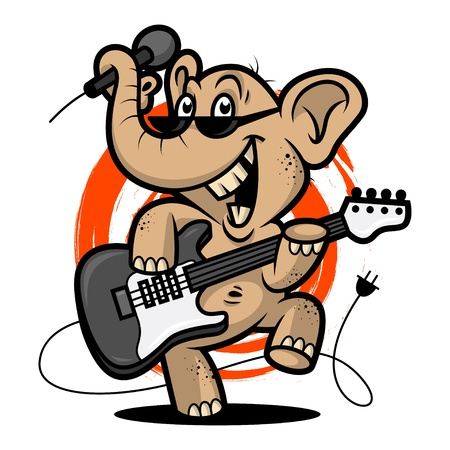 guitarist: Elephant plays guitar Illustration