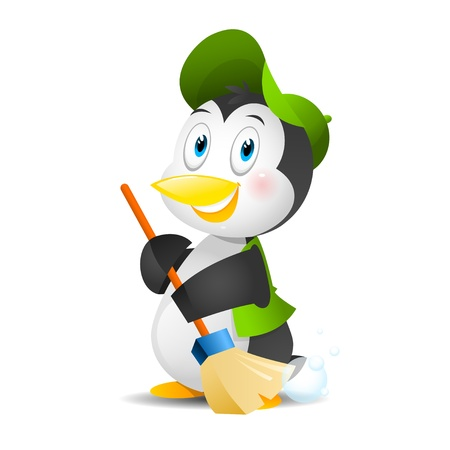 Penguin with a broom Stock Vector - 21648747