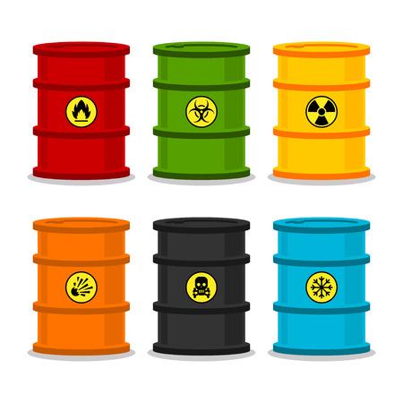 toxic barrels: Barriles con sustancias peligrosas Vectores