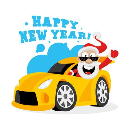 Santa Claus in car Stock Vector - 22900376