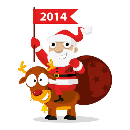Santa Claus riding a reindeer Stock Vector - 22900379