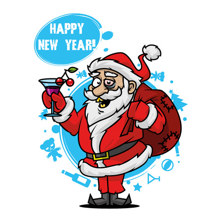 Santa with a glass of wine Stock Vector - 22900381