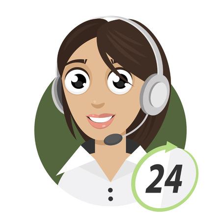 Girl telephone operator, call center 24 Illustration