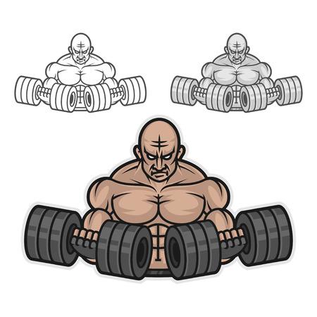 Bodybuilder with dumbbells Illustration