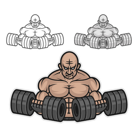 Bodybuilder with dumbbells Ilustracja