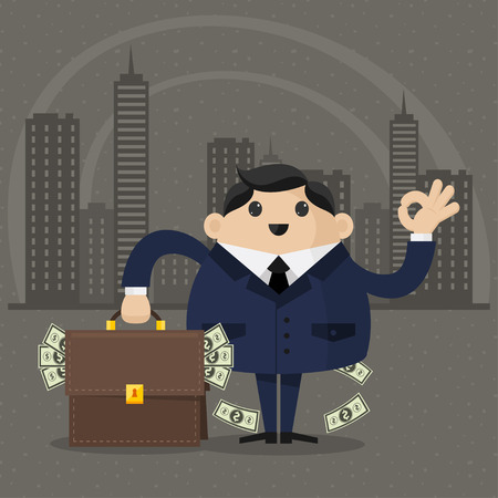 Businessman holds a suitcase with money Vector
