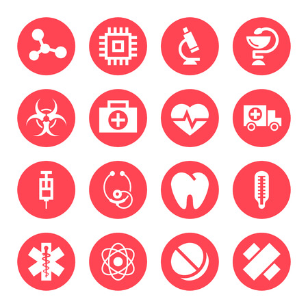 a snake in a bag: Medical monochrome red icons