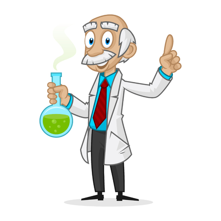 Ingenious professor holding tube 矢量图像