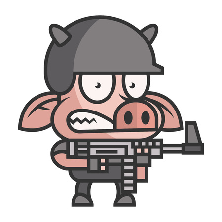 Pig soldier holding machine gun Stock Vector - 22901144
