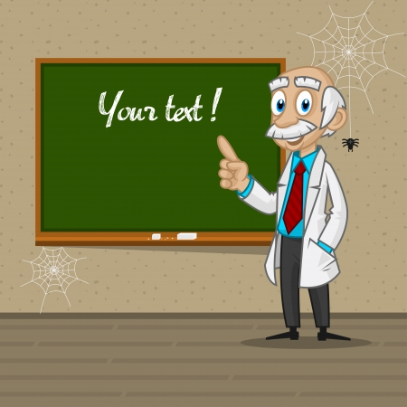 Professor points to blackboard Stock Vector - 22901145