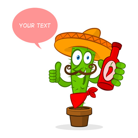 Cactus holds hot sauce Vector