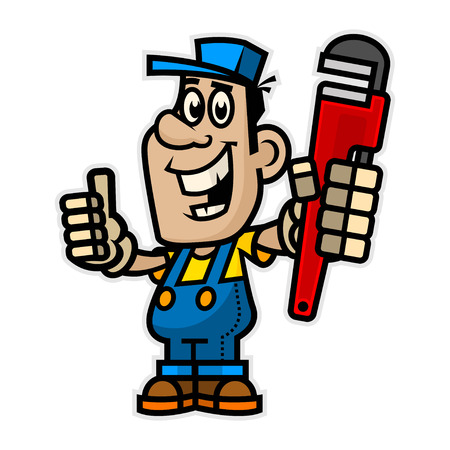 Cheerful plumber holding pipe wrench Ilustracja