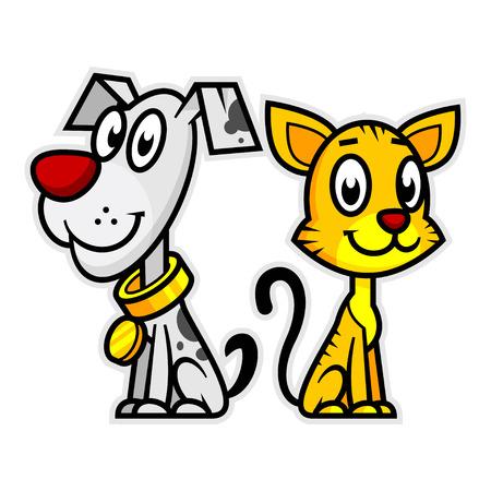犬と猫の笑みを浮かべてください。